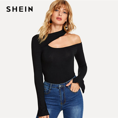 SHEIN Black Sexy Asymmetrical Neck Tee Plain Split Long Sleeve Autumn Tops Women Elegant Flounce Sleeve Party T-shirt Top
