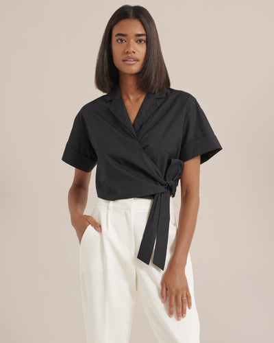 Modern Citizen Nimah Cropped Wrap Blouse / Neighborhood Goods