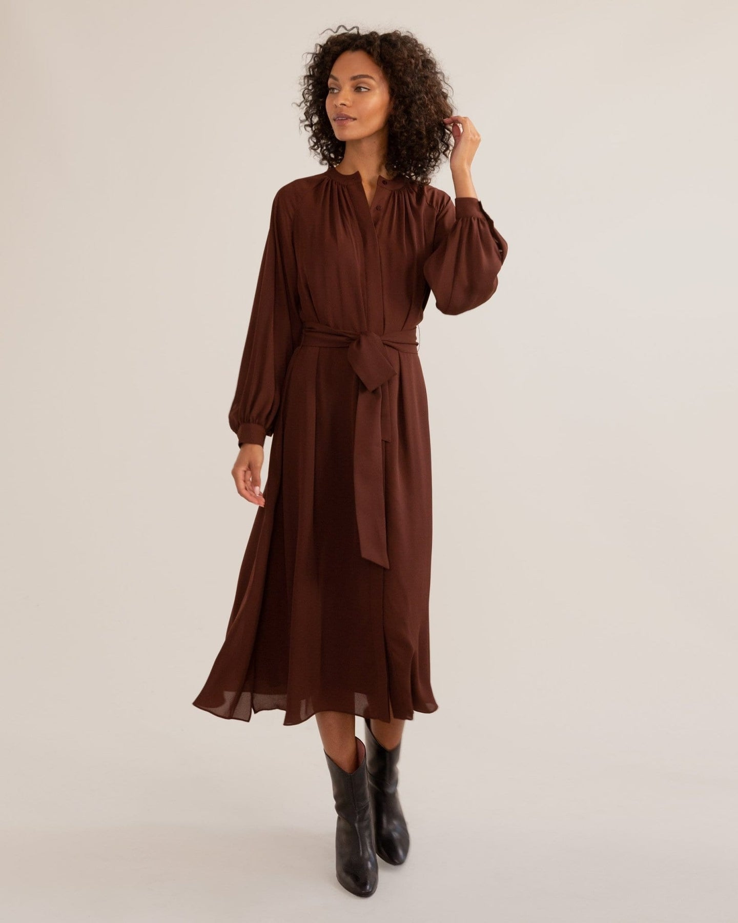 Remy Tie-Front Billow Sleeve Dress / Neighborhood Goods