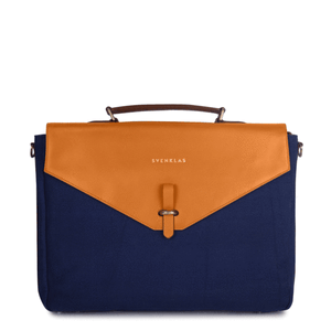 Svenklas Astrid Cognac Blue Briefcase / Neighborhood Goods