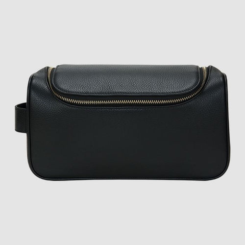 The Daily Edited Black Top Zip Pebbled Wash Bag / Neighborhood Goods