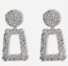 OPEN RECTANGLE TEXTURED DROP EARRINGS