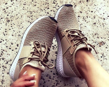 TAUPE KNIT LACE UP SNEAKERS