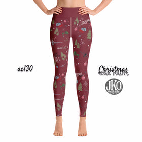 2018 Christmas Yoga Pants- AC130 RED