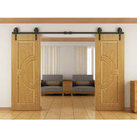 Sliding HM2000 Barn Door, Railing with Wheels Door Hardware 250 Pound Capacity - amerfithardware