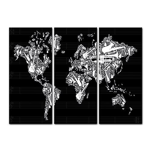"Bilderdepot24 Wall Art - Canvas Picture ""World map - worldmap Music"" 35.43 inch x 23.62 inch 3 pieces - Gallery wrapped, directly from the manufacturer"
