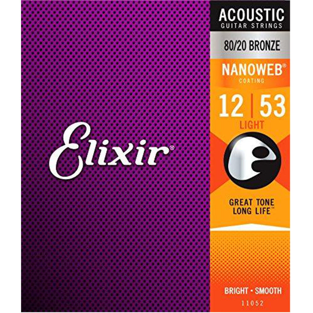 Elixir 80/20 Bronze Acoustic Sets Ultra-Thin Nanoweb Coating - Light (0.012 - 0.053)