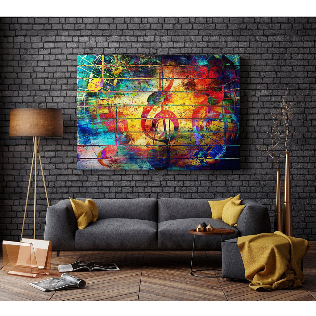 Med Framed Canvas Print - Modern Wall Art - HD Quality Picture - 100% Guaranteed - music yellow clef wall - Living & Bedroom Home DÃcor with Easy Hang Guide - AB1725 75cm x 50cm - WOYW