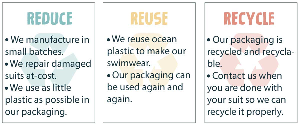 sustainable swimwear commitment reduce reuse recycle