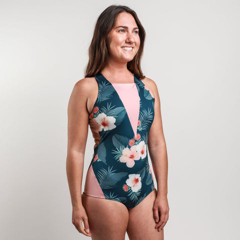 Floral Style Perissa Athletic One Piece Swimsuit by Hakuna Wear