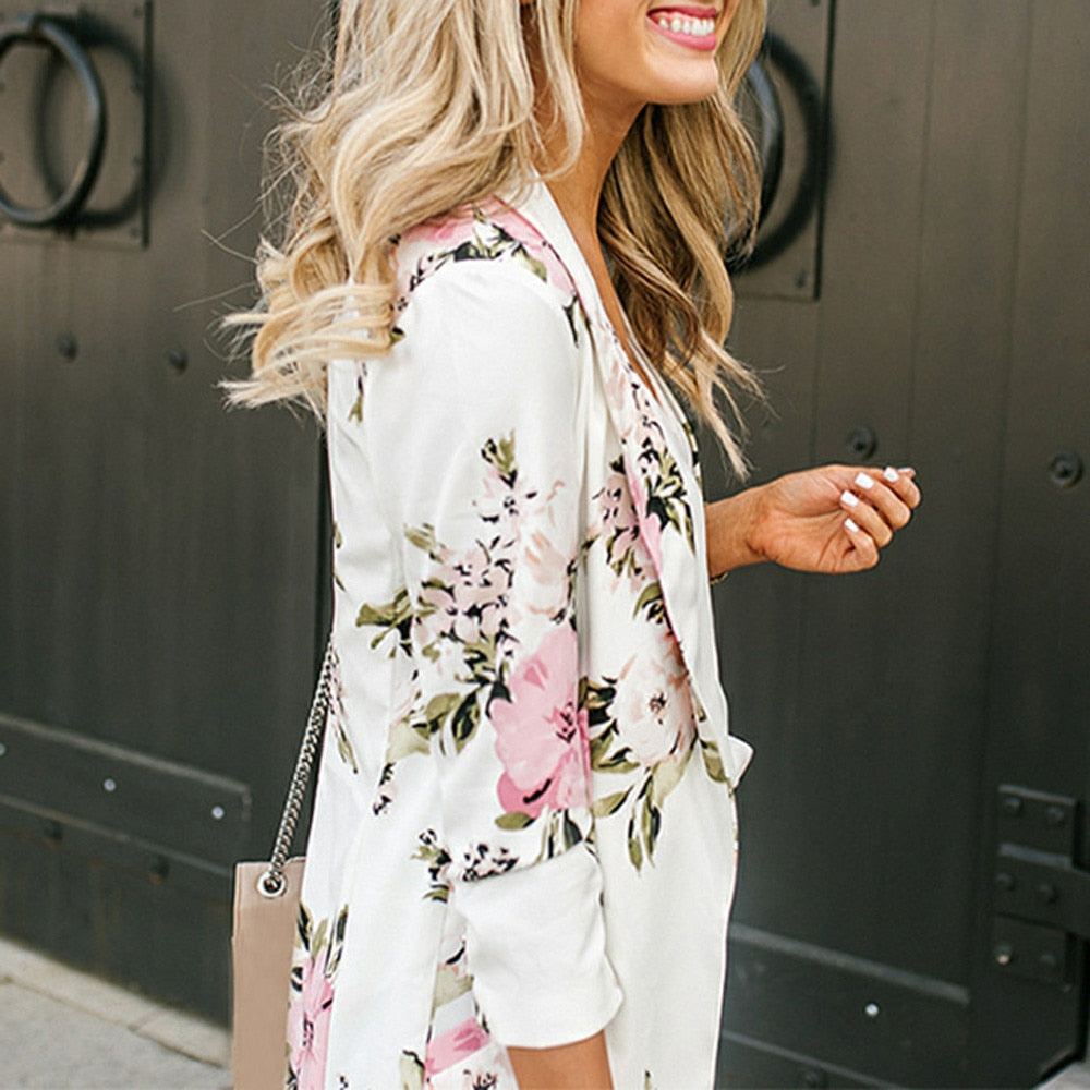 Floral Printed Casual Women's Blazer