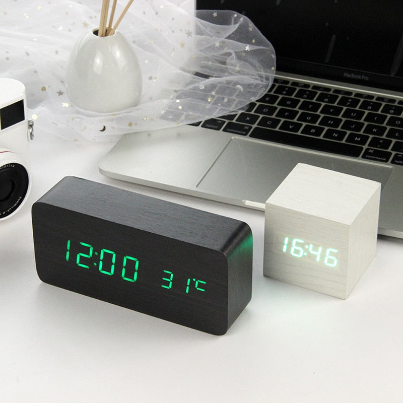 Voice Control Digital LED Wooden Alarm Clock