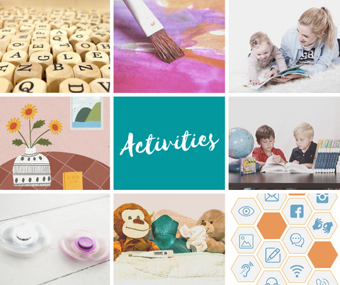 Collage picture of children engaging in different activities