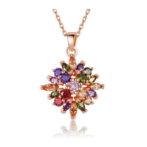 Luxury Rose Gold Color Flower Jewelry Sets Multicolor Queen AlA