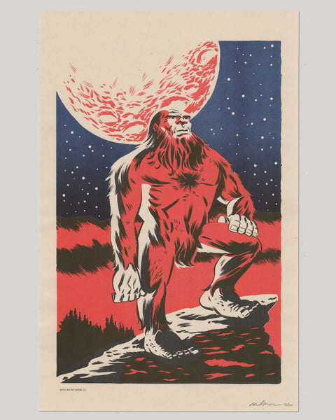 Bigfoot Stargazer Risograph Print