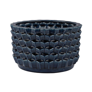 Dimond Home Accordion Crackled Blue Pot