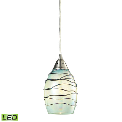 Elk Vines 1 Light LED Pendant In Satin Nickel And Mint Glass