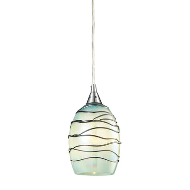 Elk Vines 1 Light Pendant In Satin Nickel And Mint Glass