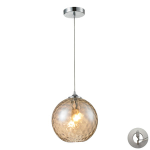 Elk Watersphere 1 Light Pendant In Polished Chrome And Champagne Glass - Includes Recessed Lighting Kit