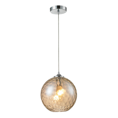 Elk Watersphere 1 Light Pendant In Polished Chrome And Champagne Glass