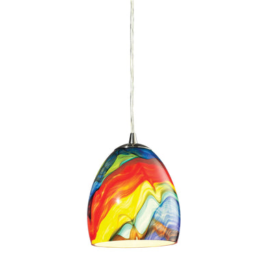 Elk Colorwave 1 Light Pendant In Satin Nickel And Rainbow Streak Glass