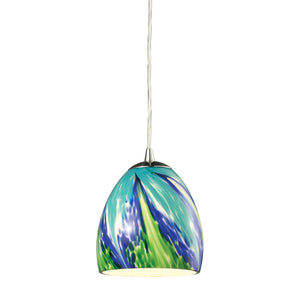 Elk Colorwave 1 Light Pendant In Satin Nickel And Tropics Glass