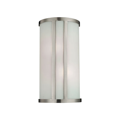 Thomas Wall Sconces 2 Light Sconce In Brushed Nickel And White Glass