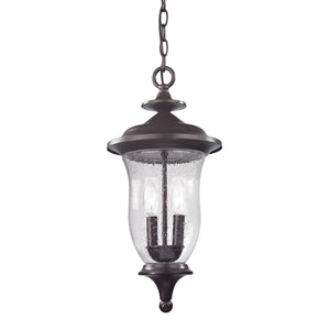 Thomas Trinity 2 Light Outdoor Pendant In Oil Rubbed Bronze