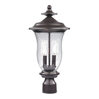 Thomas Trinity 2 Light Outdoor Post Lamp In Oil Rubbed Bronze