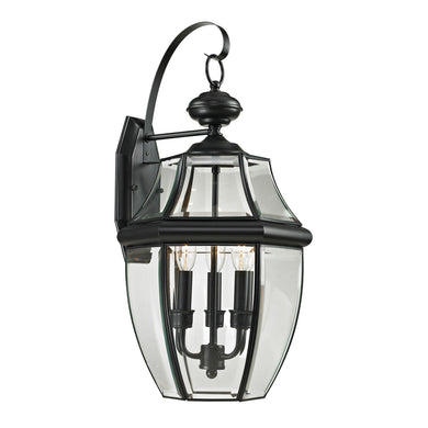 Thomas Ashford 3 Light Outdoor Wall Sconce In Black