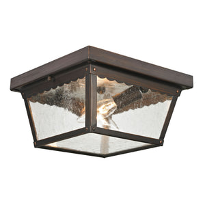 Thomas Springfield 2 Light Outdoor Flushmount In Hazelnut Bronze