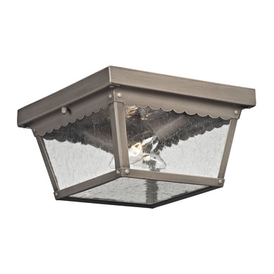 Thomas Springfield 2 Light Outdoor Flushmount In Antique Nickel