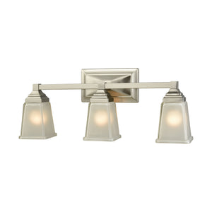 Thomas Sinclair 3 Light Bath In Brushed Nickel With Frosted Glass
