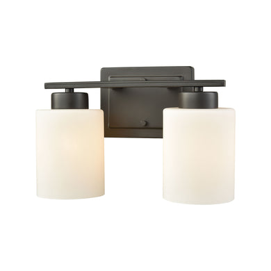 Thomas Summit Place 2 Light Bath In Oil Rubbed Bronze With Opal White Glass
