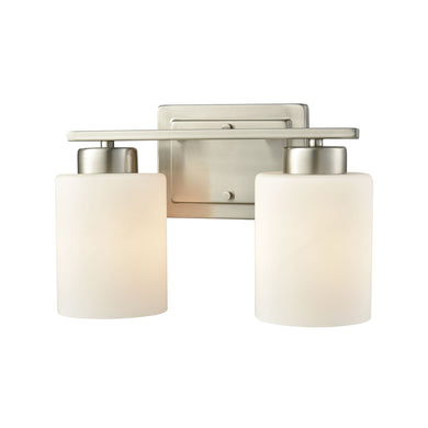 Thomas Summit Place 2 Light Bath In Brushed Nickel With Opal White Glass