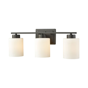 Thomas Summit Place 3 Light Bath In Oil Rubbed Bronze With Opal White Glass