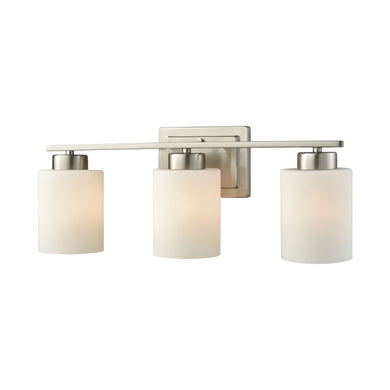 Thomas Summit Place 3 Light Bath In Brushed Nickel With Opal White Glass