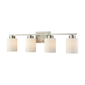 Thomas Summit Place 4 Light Bath In Brushed Nickel With Opal White Glass