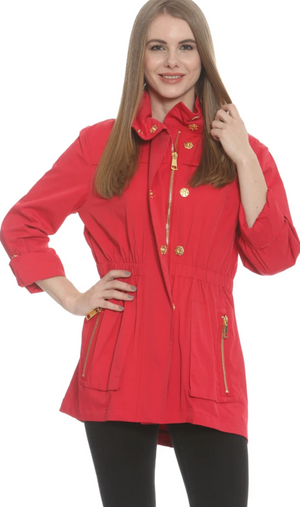 TESS RAIN COAT IN RED