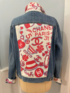 Designer Scarf Denim Jacket- L