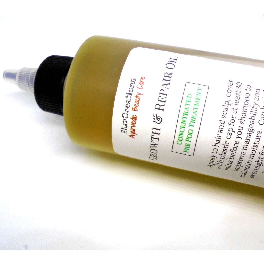AYURVEDIC Pre-Poo Hair Growth Oil Mustard Seed, Rosemary,Lemongrass w/ Amla, Bhringraj, Brahmi, Neem, Concentrated - Nurcreation