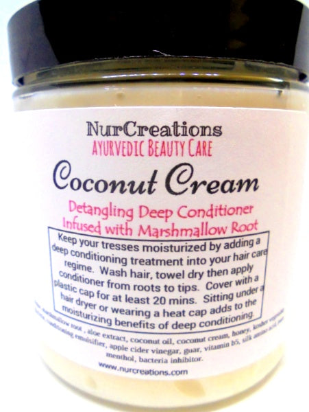 Coconut Cream Honey Detangling Deep Conditioner *Marshmallow Root,Silk Amino Acids *Paraben Free *Healthy Hair Care Coconut Oil Menthol - Nurcreation