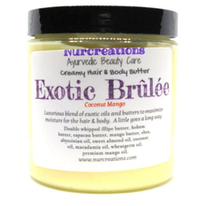 Whipped Exotic Brulee Hair & Body Butter w/ Illipe butter, Kokum Butter, Capacau butter, Jojoba oil, Abyssinian oil Coconut Mango - Nurcreation