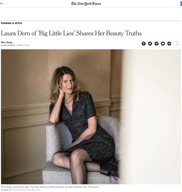 Laura Dern of 'Big Little Lies' Shares Her Beauty Truths (Including Camellia Oil!!) in NY Times
