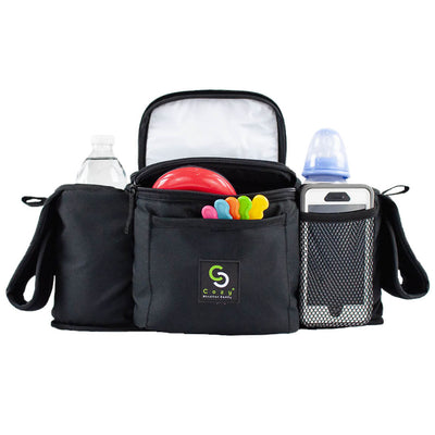 Cozy Stroller Caddy Organizer (Black, Insulated) - Everything Mom Needs on Stroller - 2 Deep Cup Holders, 3 Separate Spaces, Front Cellphone Holder, Wallets, Diapers, Milk - Perfect Baby Shower Gift