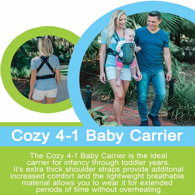 Cozy 4-in-1 Convertible Baby Carrier (Grey) - The Ergonomic Infant Carrier With Additional Padding in the Straps For Your Comfort. Ideal For Newborn to Toddler With 4 Ways to Carry