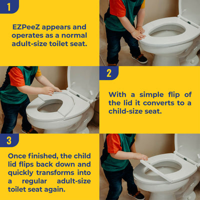 EZPeeZ : Revolutionary Children's Potty Training Toilet Seat / Regular Adult-Size Toilet Seat Converts To A Child-Size Seat With A Simple Flip Of The Lid!