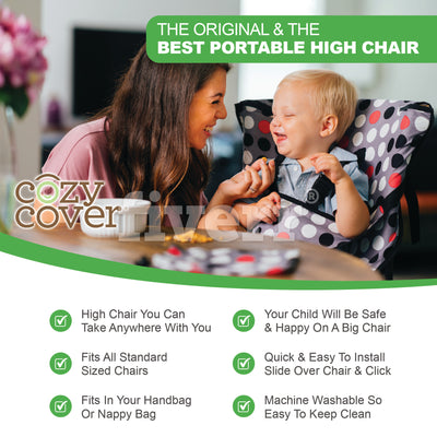 Cozy Cover Easy Seat Portable High Chair - Quick, Easy, Convenient Cloth Travel High Chair Fits in Your Hand Bag for a Happier, Safer Infant/Toddler