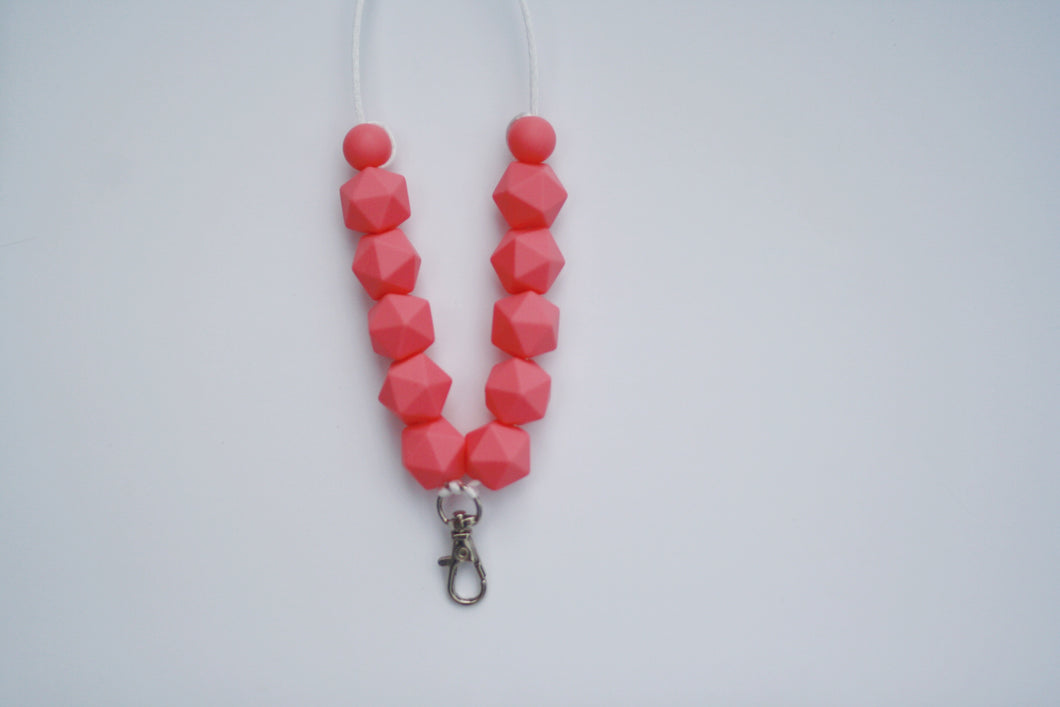 Pink Hexagon Lanyard