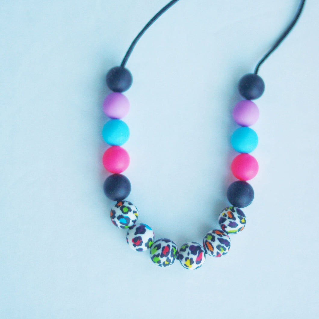 Exotic Rainbow Cheetah Necklace